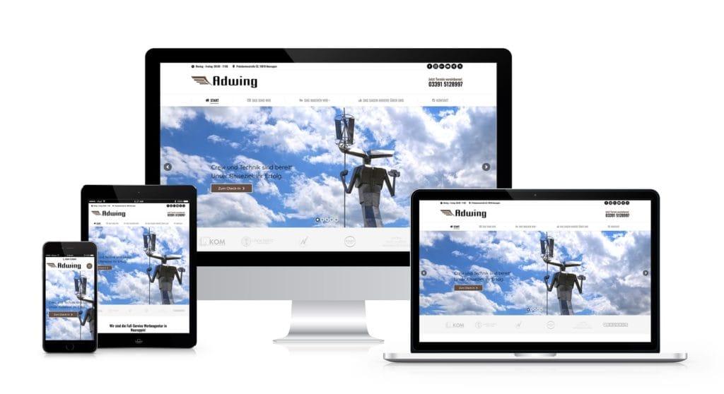 Webdesign und Webentwicklung für alle Endgeräte Responsive wie Desktop, Laptop, Tablet und Mobile Smartphone