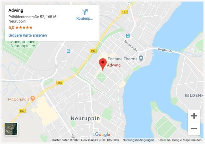 Adwing - Werbeagentur Neuruppin - Google Maps Preview